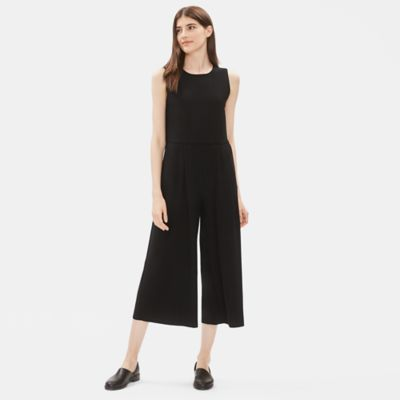 Lightweight Washable Stretch Crepe Sleeveless Jumpsuit