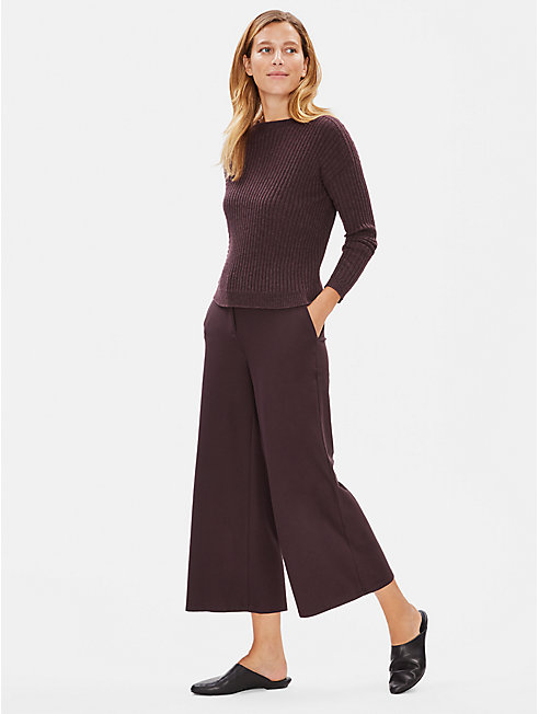 Lightweight Washable Stretch Crepe Wide-Leg Ankle Pant