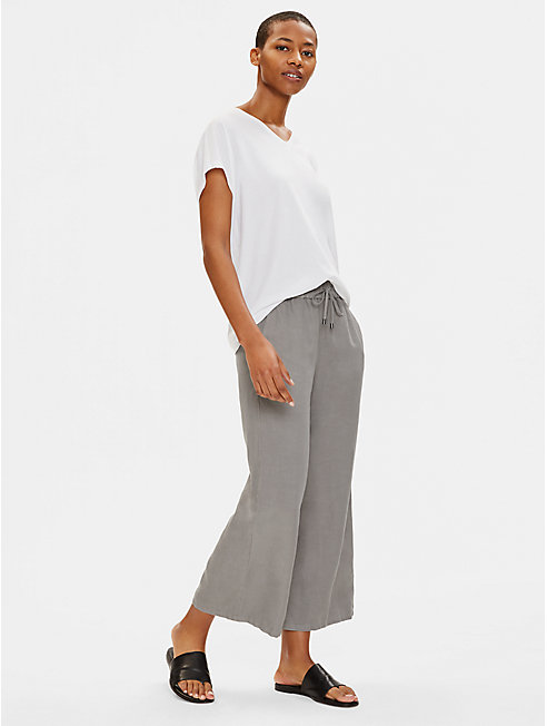 Tencel Linen Wide-Leg Cropped Pant