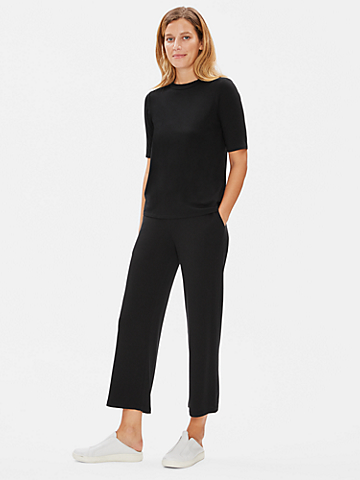 Tencel Stretch Terry Straight Ankle Pant
