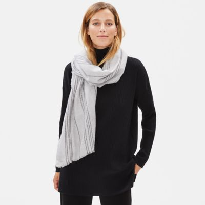 Wool Tencel Striped Scarf