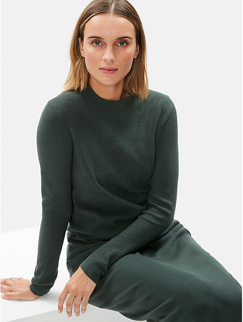 Luxe Merino Stretch Mock Neck Top in Responsible Wool