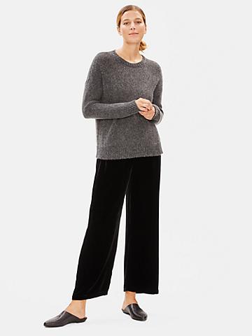 Velvet Wide-Leg Ankle Pant