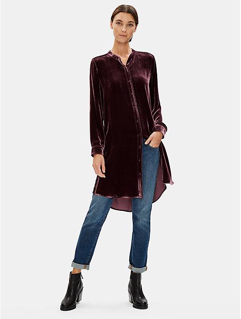 Velvet Mandarin Collar Long Shirt