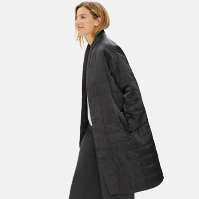 Limited Edition Quilted Silk Charmeuse Long Coat