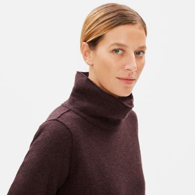 Boiled Wool Funnel Neck Top in Responsible Wool