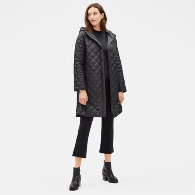Diamond Recycled Nylon Hooded Coat