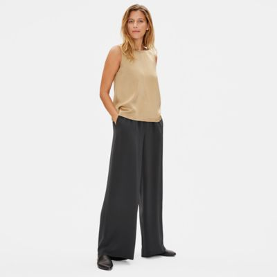 Limited Edition Silk Double Crepe Wide-Leg Pant