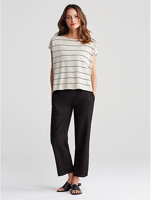 Organic Linen Cotton Stripe Box-Top