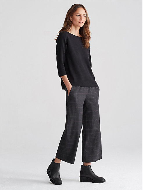 Heathered Flannel Plaid Wide-Leg Pant