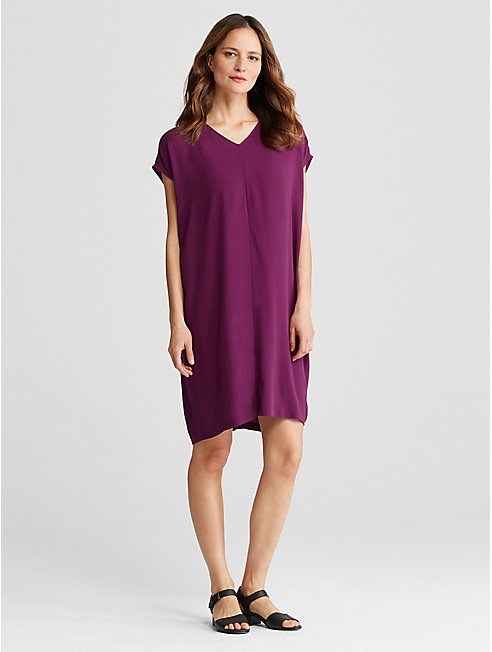 Silk Georgette Crepe Gathered V-Neck Dress