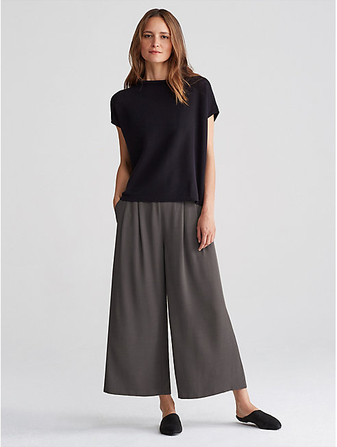 Tencel Viscose Crepe Wide-Leg Pant
