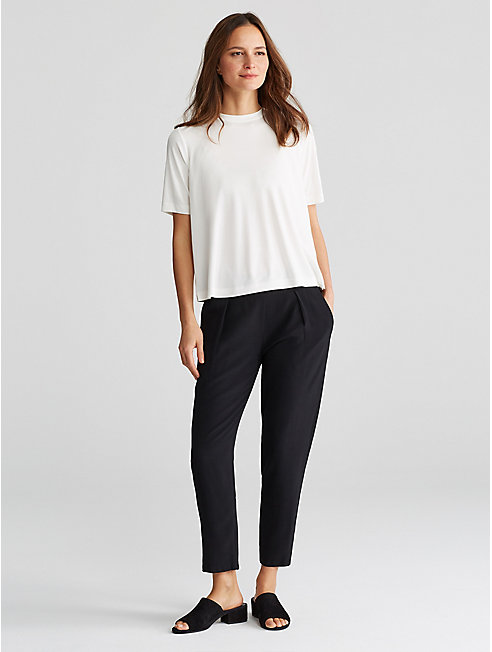 Tencel Viscose Crepe Slouchy Cropped Pant