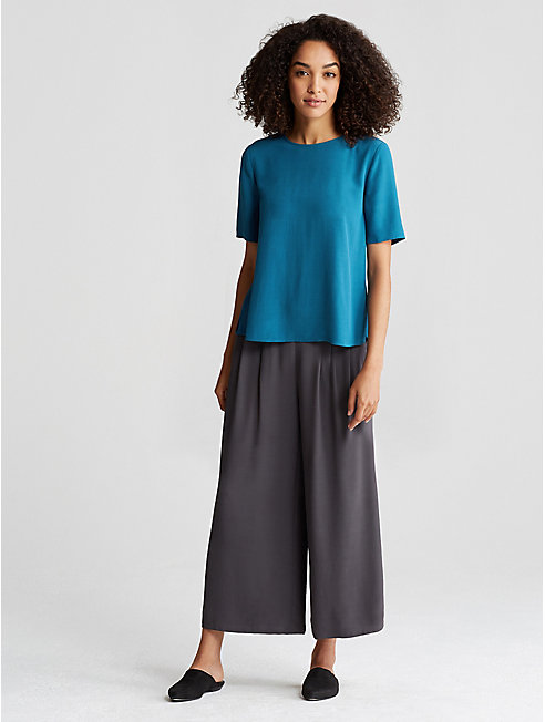Tencel Viscose Crepe Short-Sleeve Top