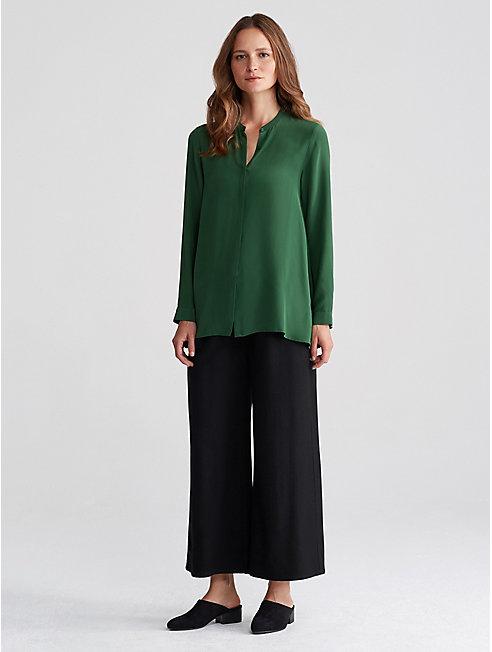 Silk Crepe de Chine Mandarin Collar Shirt