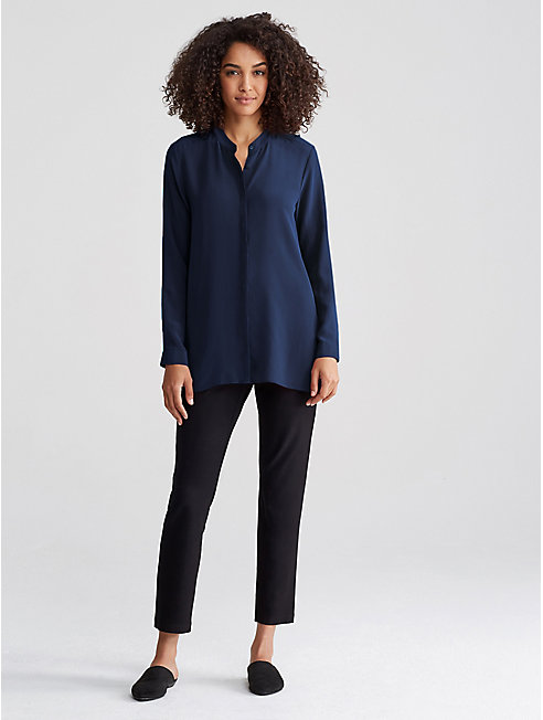 Silk Crepe de Chine Mandarin Collar Shirt
