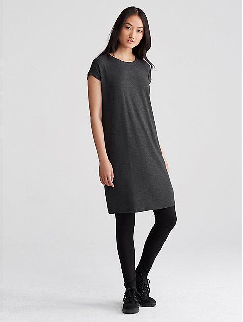 Lightweight Tencel Stretch Jewel Neck Dress