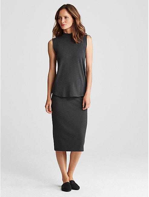 Cozy Tencel Stretch Fold-Over Pencil Skirt