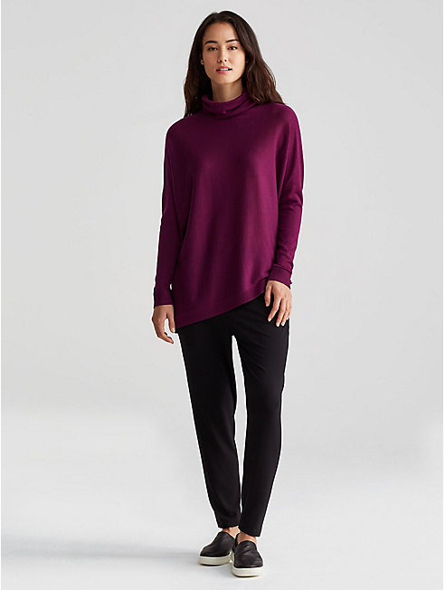 Fine Merino Asymetrical Turtleneck Top