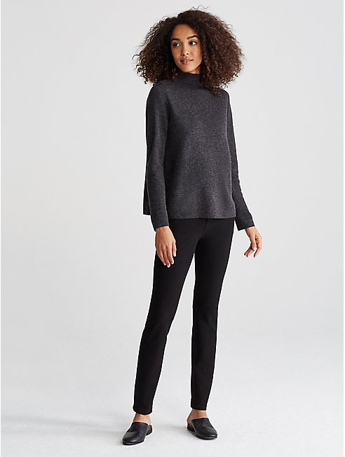 Reversible Tencel Alpaca Funnel Neck Top