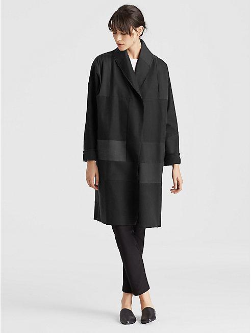 Resewn Organic Cotton-Blocked Kimono Coat