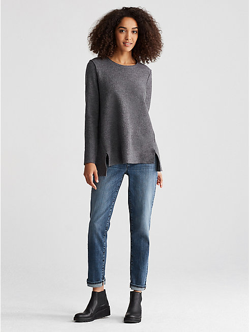 Lightweight Boiled Wool A-Line Top