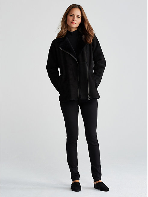 Shearling Leather Long Bomber Jacket