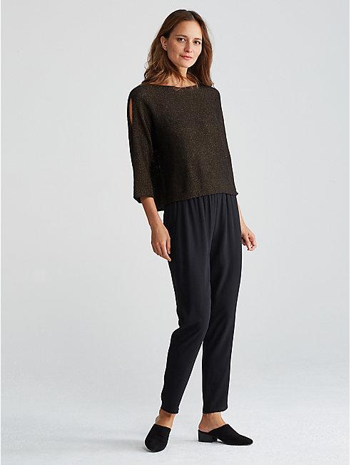 Organic Linen Shimmer Open-Sleeve Top