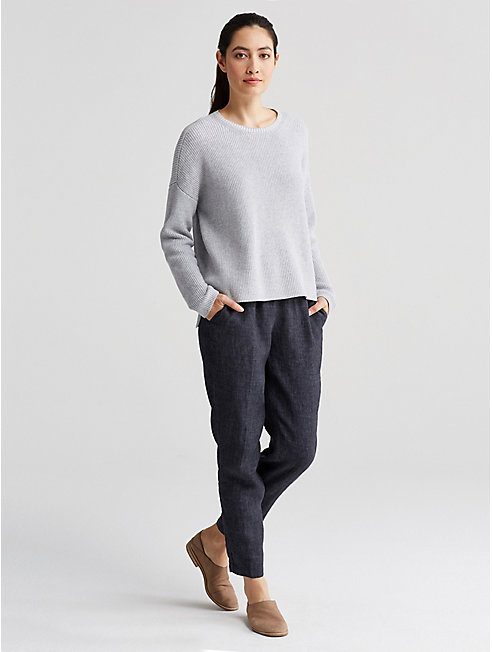 Petite Organic Washed Linen Delave Slouchy Pant