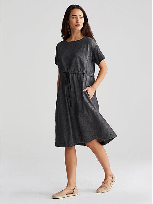 Tencel Organic Cotton Denim Drawstring Dress