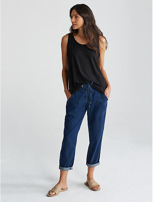Tencel Organic Cotton Denim Slouchy Ankle Pant