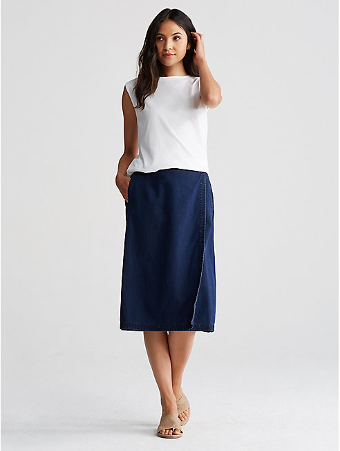 Tencel Organic Cotton Denim Wrap Skirt