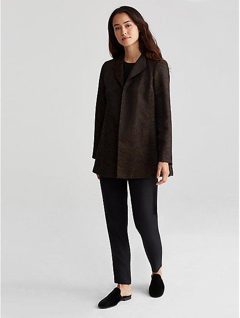 Silk Blend Jacquard Stand Collar Jacket