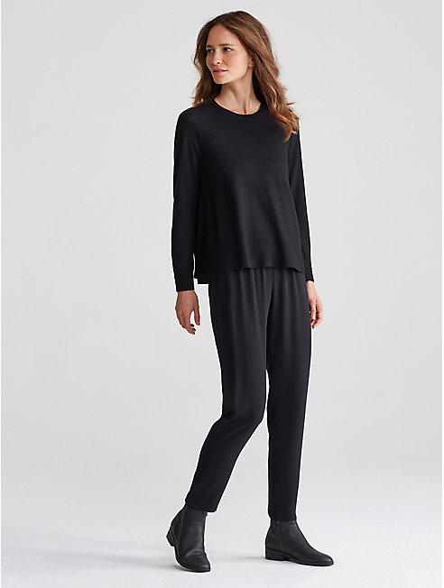 Merino Jersey High-Slit Box-Top