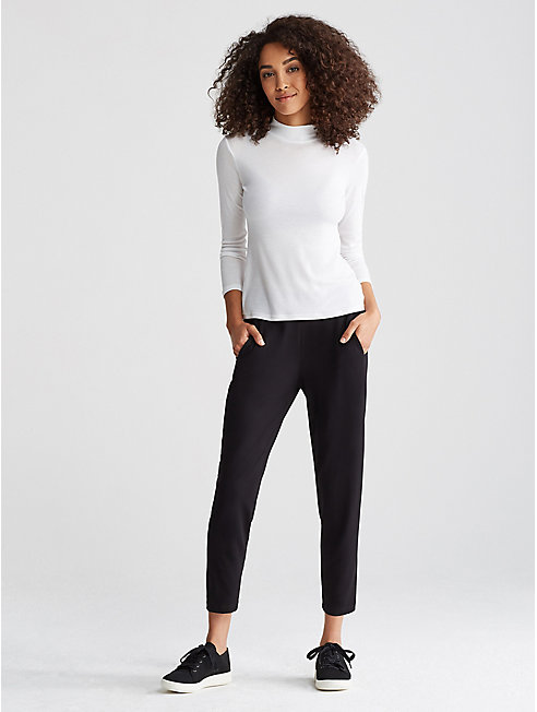 Micro Tencel Rib Mock Neck Slim Top