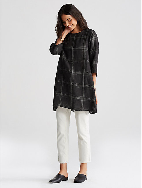 Organic Linen Multi Plaid A-Line Tunic