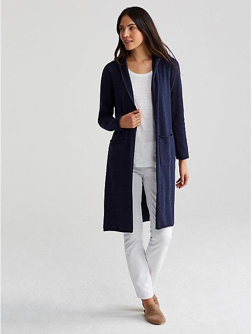 Peruvian Organic Cotton Hooded Long Cardigan