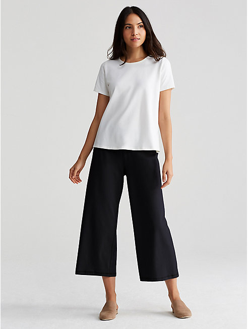 Organic Cotton Stretch Jersey Cropped Wide-Leg Pant
