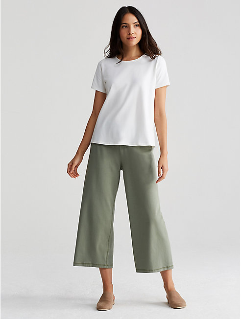 Organic Cotton Stretch Jersey Cropped Wide-Leg Pant