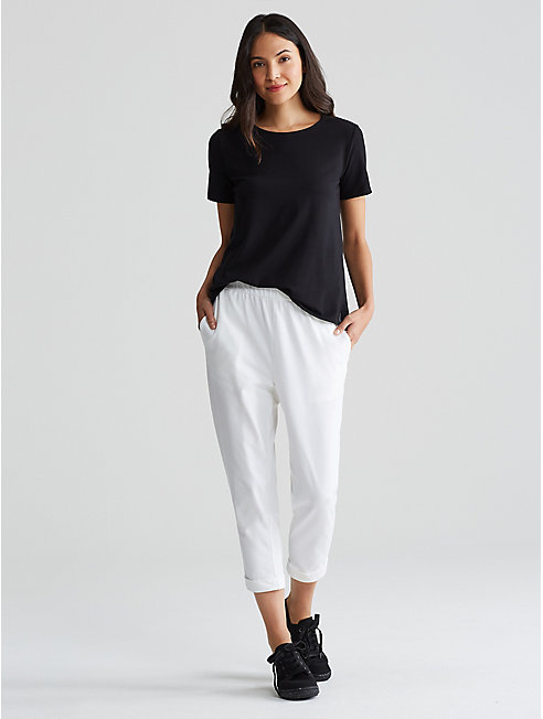 Organic Cotton Stretch Jersey Slouchy Cropped Pant