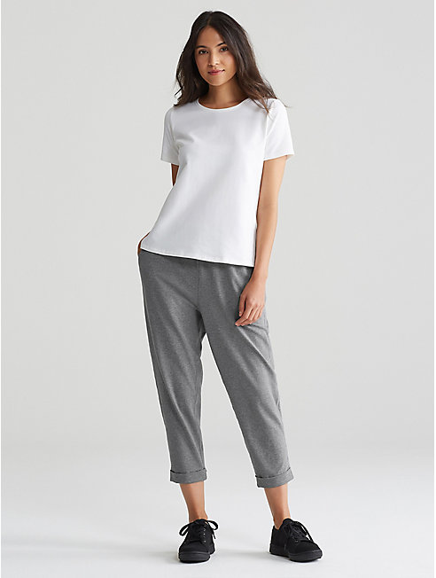 Heathered Organic Cotton Slouchy Cropped Pant