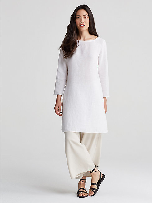 Organic Handkerchief Linen High-Slit Tunic