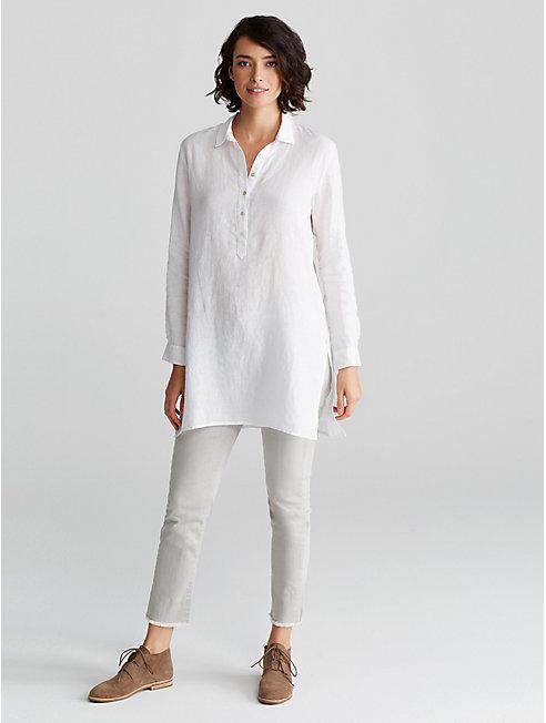 Organic Handkerchief Linen Henley Tunic