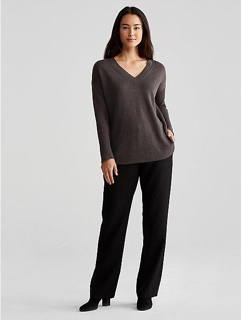 Organic Linen Knit V-Neck Sweater