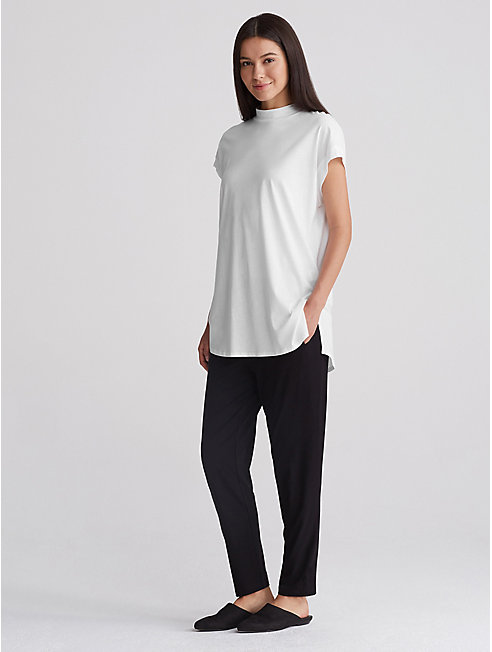 Organic Cotton Jersey Mock Neck Top