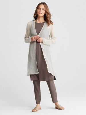 V-Neck Long Jacket in Organic Linen Mesh | EILEEN FISHER