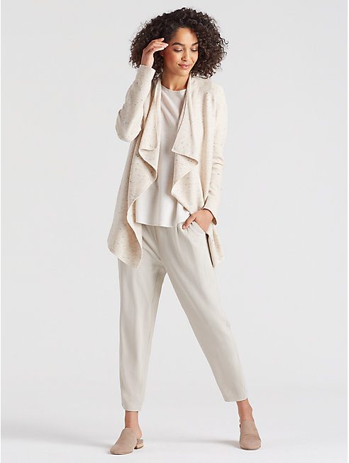 Peppered Organic Cotton Wool Drape-Front Cardigan