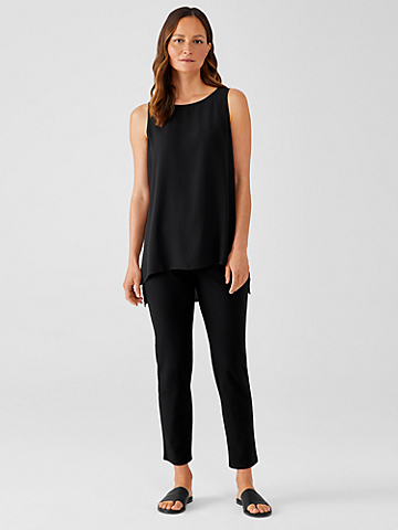 Washable Stretch Crepe High-Waisted Pant