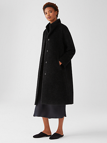 Sheared Suri Alpaca Stand Collar Coat