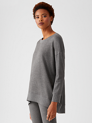 Waffle Stretch Knit Crew Neck Top